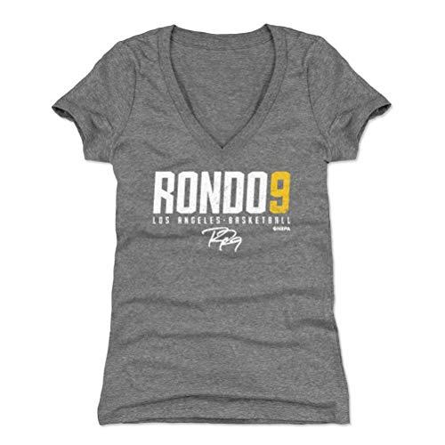 (500 LEVEL Rajon Rondo Women's V-Neck Shirt (Medium, Tri Gray) - Los Angeles Basketball Shirt for Women - Rajon Rondo Elite Y WHT)