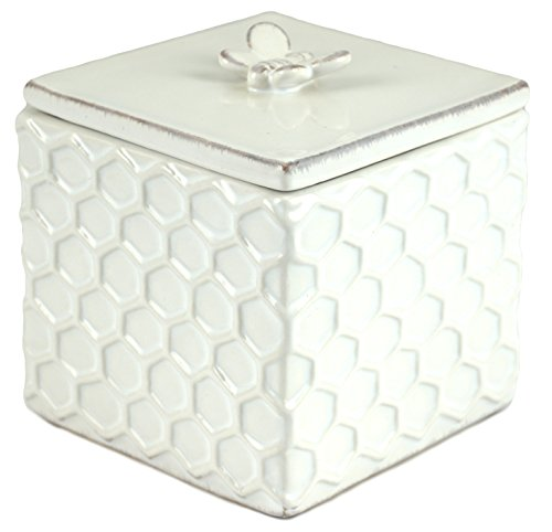 Bee Honeycomb Embossed Ceramic Trinket Box with Lid