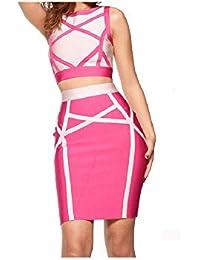 e409f6b6bf9 Whoinshop Women's Pink Skirt Set 2 Pieces Sleeveless Celebrity Bandage  Dress Pink XS at Amazon Women's Clothing store: