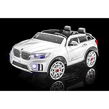 sportrax bmw x7 style kids ride on car 2 seater battery powered remote control wfree mp3 player white