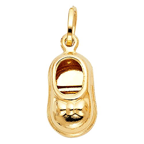Solid 14k Yellow Gold Baby Shoe Pendant Charm Polished Shiny Finish Quality Design Cute 17 x 10 ()