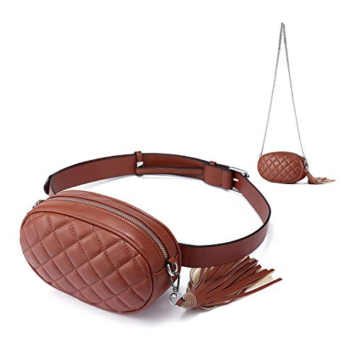 Fanny Pack for women Waist Bag Chest Packs Stylish Quilted Belt Bum Bags Cell Phone Hiking Purses Red-brown