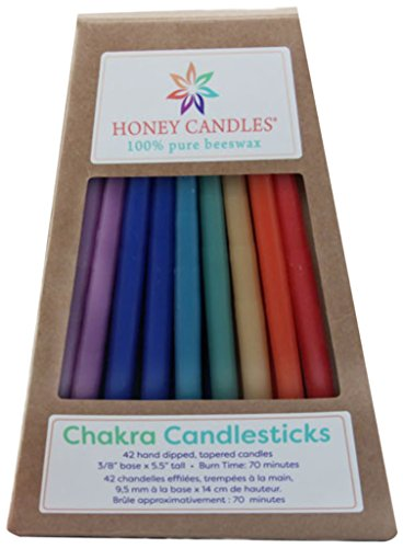 Honey Candles Enlighten Chakra Candlesticks Beeswax Candle (Set of 42), 42 Piece - CB401 (Candle Oil Unity Glass)