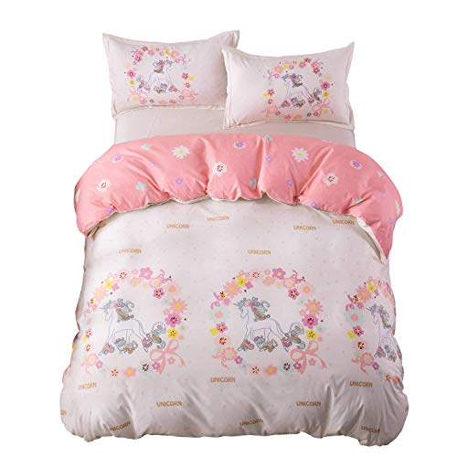 KFZ Girls Magic Unicorn Duvet Cover Queen Set, 3PCs Kids Bedding Set with One 90
