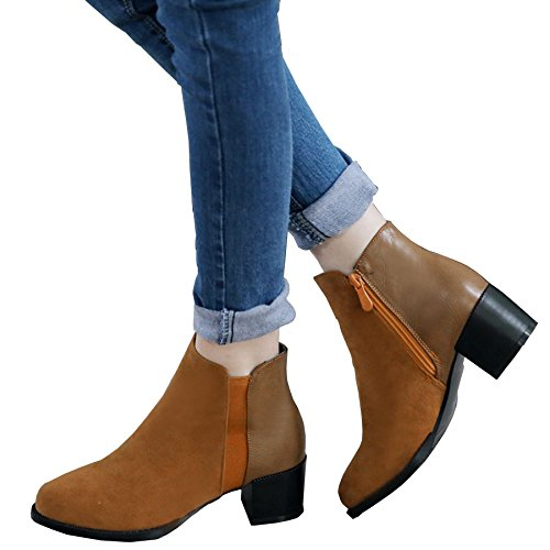 KingRover Women's Ladies Pointed Toe Block Heel Riding Biker Zipper Chelsea Ankle Boots Size UK 1-13 Brown 2y6sMteQ