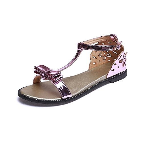 AmoonyFashion Womens Open Toe Low-heels Patent Leather Solid Buckle Sandals Purple 2y9VX