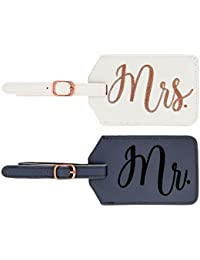 Mr. and Mrs. Bridal Luggage Tags, Gray and White