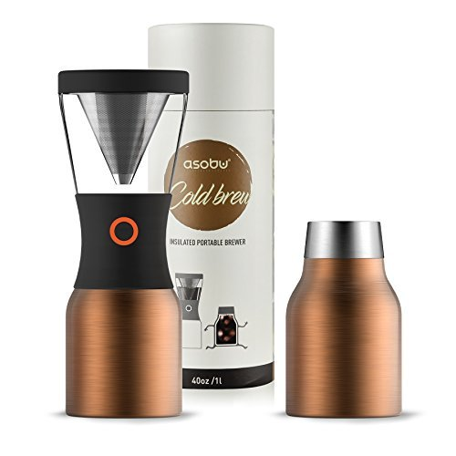 Asobu Coldbrew Portable Cold Brew Coffee Maker With a Vacuum Insulated 40oz Stainless Steel 18/8 Carafe Bpa Free (Copper)
