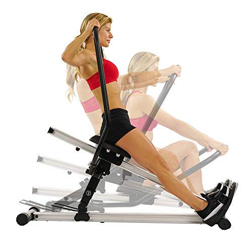 Sunny Health & Fitness Incline Full Motion Rowing Machine Rower with 350 lb Weight Capacity and LCD Monitor