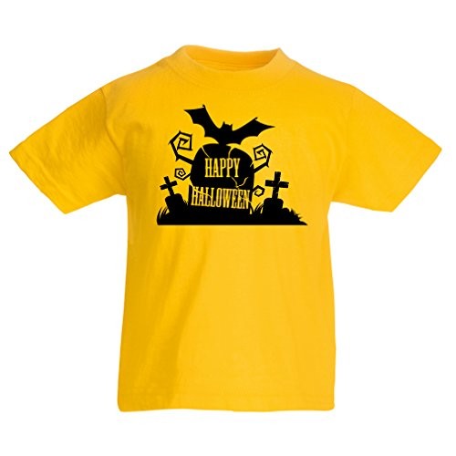 T shirts for kids Halloween Graveyard Outifts - Costume Ideas - Cool Horror Design (5-6 years Yellow Multi Color)