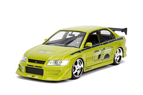 Fast & Furious Brian's Mitsubishi Lancer Evolution VII DIE-CAST Car, 1: 24 Scale Lime Green (Fast And The Furious 1 Green Car)