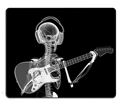 Pingpi Gaming Mouse Pad Custom Design Mat, Abstract x-ray Skull Skeleton in Headphones Playing Guitar Design Art,9.5 X 7.9 Inch (240mmX200mmX3mm) -