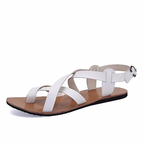 sandali Uomini gioventù vera pelle estate tendenza Spiaggia sandali biancapersonalità Uomini Roma scarpa ,bianca,US=7.5,UK=7,EU=40 2/3,CN=41