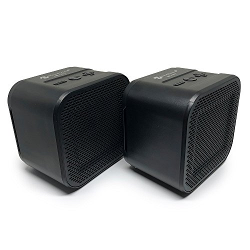 Bluetooth Speaker Set: True Wireless Twin Portable TWS Mini Stereo Pair Speakers Mic Outdoor Dual Big Bass Microphone FM SD TF Card for iPhone Android Samsung Galaxy Nexus Laptops MAC PC Tablets Echo by Long Run Technologies