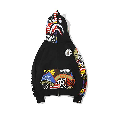 Fashion Shark Zip bape Hoodie Sweatshirt Mens Hoodies Sweatshirt Fashion Casual Coat Outdoor Hip-Hop Funny Tops (Corlor1, L)