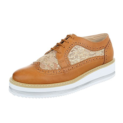Ital-Design - Zapatos Planos con Cordones Mujer marrón claro