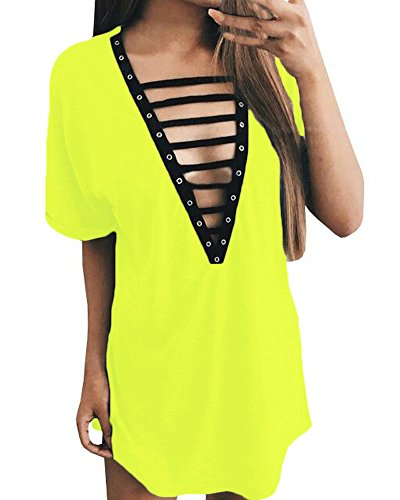 Geckatte Women's V Neck Lace Up Dress Short Sleeve Mini T Shirt Club Dresses Top (XX-Large, H4: Fluorescent - Women Summer Green Neon Dress