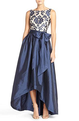 Bodice Taffeta Ball Gown - Adrianna Papell Women's High Low Taffeta Ball Gown with Embroidered Lace Bodice, Navy/Nude, 6