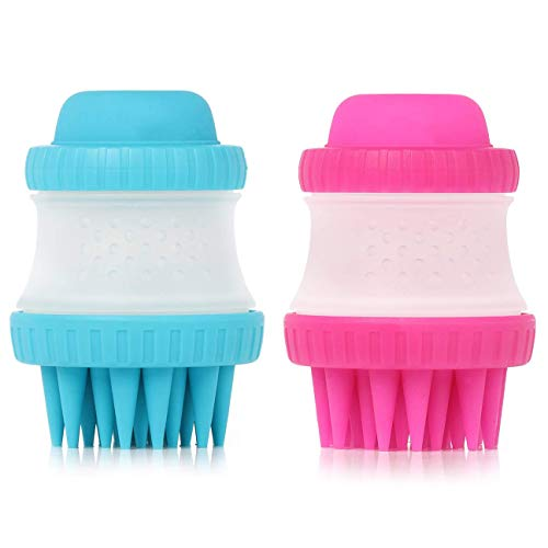 GTVIA 2 PCS Pet Bath Brush, Dog Cat Bath Massage Brushes with Shampoo Container, Pet Scrubber Shampoo Soft Silicone Brush Bristle Pet Cleaning Device Wahser Bathing Tool