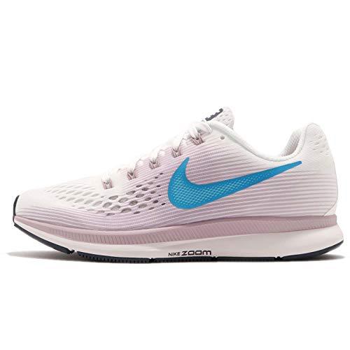 Nike Women's Air Zoom Pegasus 34 Running Shoe (9.5 B(M) US, Summit White/Elemental Rose/Thunder Blue/Equator -