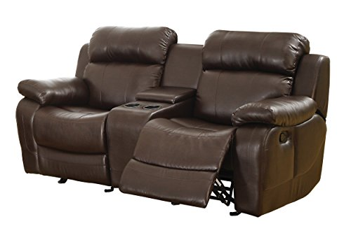 Homelegance marille reclining loveseat w center console cup holder brown bonded leather Reclining loveseat with center console