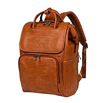 Image of Baby Citi Babies Tan Faux Leather Diaper Bag Backpack - Vegan Leather Diaper Bag with Shoulder Strap, Large Capacity, Insulated Bottle Pockets, Changing Pad, Stroller Clip- Versatile Diaper Bag for Baby