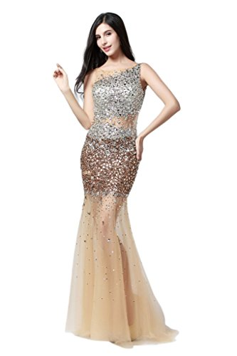 HarveyBridal Gold Crystal Tulle Sheer Body Backless Mermaid Evening Dress
