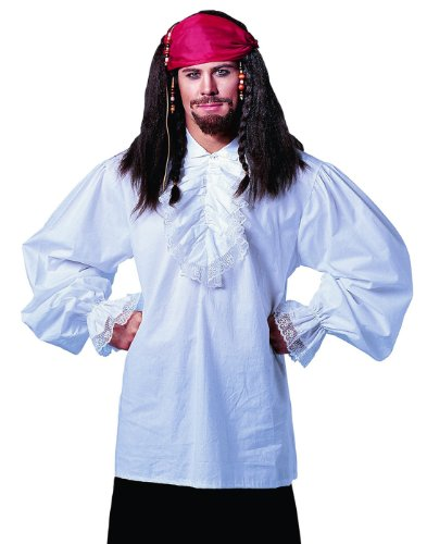 Costume Culture Men's Ruffled Shirt Deluxe, White, Standard - Colonial Man Deluxe Costumes