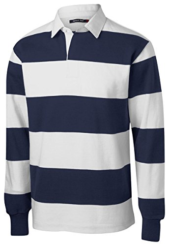 Sport-Tek Men's Long Sleeve Rugby Polo S True Navy/White -