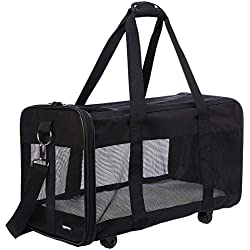 AmazonBasics Soft-Sided Pet Travel Transport Carrier with Wheels - 20 x 10 x 11 Inches, Large