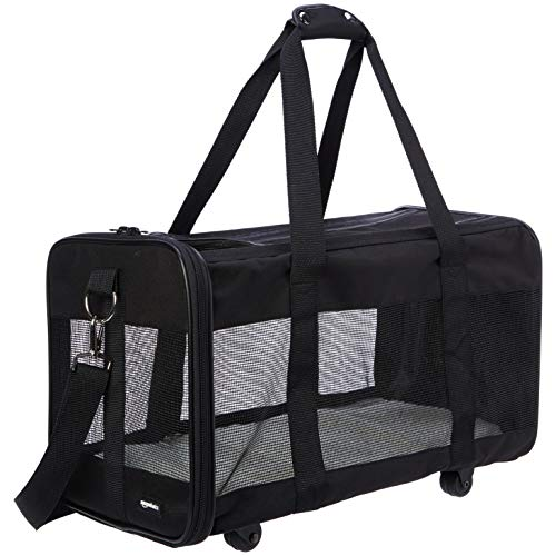 (AmazonBasics Soft-Sided Pet Travel Transport Carrier with Wheels - 20 x 10 x 11 Inches, Large)