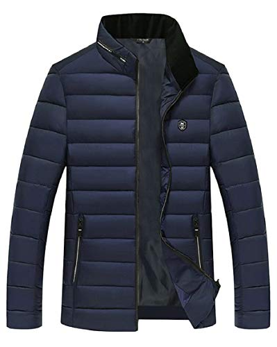Outdoor Collar Quilted Coat Stand security Warm Down Blue Navy Winter Jacket Men's Slim WnZYq6Eg