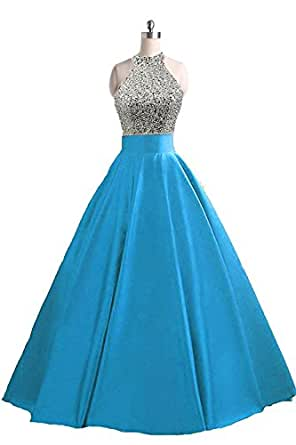 Girl's Sparkly Halter A Line Satin Long Prom Dress Beaded Evening Party Gown Keyhole Baby Blue Size 20