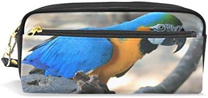 Papageienvogel Wellensittich Tier Federmäppchen für Kinder, Jungen, große Ledertasche mit Reißverschluss für Schule, Studenten, Kosmetik, Make-up