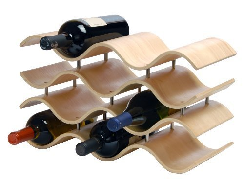 Oenophilia Bali Wine Rack, Natural - 10 Bottle, Solid Wood, Elegant Modern Wine Rack, Table Wine Storage