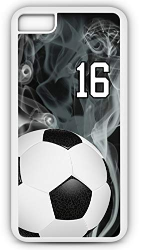 iPhone 7 Phone Case Soccer SC015Z by TYD Designs in White Rubber Choose Your Own Or Player Jersey Number ()