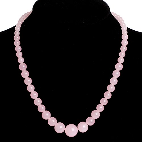 GEM-inside Necklace Pendant Graduated Gemstone Pink Jade Beads Fashion Jewellry 18 Inches 6--14mm (Jade Pendant Pink Jewelry)