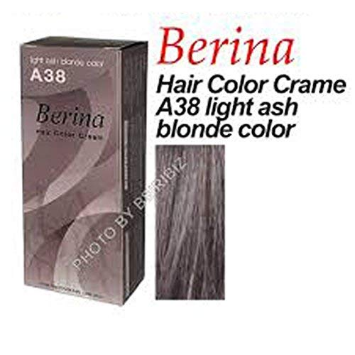 Berina Permanent Hair Dye Color Cream # A38 Light Ash Blonde Color Made in Thailand.(BY PPR)