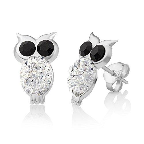 925 Sterling Silver Black & White Crystal Rhinestone Little Owl Bird 13 mm Post Stud Earrings