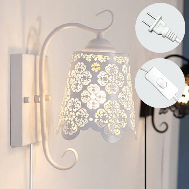 Kiven Iron Art 1 Light Wall Lamps European Style Hollow Wall Sconces UL Certification Plug-In Button Cord Lighting Elegant Loft Decor For Dining Room Bedroom Bulbs Not Included
