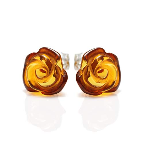 Rose Amber Stud Earrings for Women - 925 Sterling Silver - Honey Genuine Baltic Amber - -