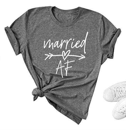 Married Af Letter Print T Shirt Honeymoon Shirt Honeymooning T Shirt Women Wedding Gift Bride Gift Tee Size S (Gray)