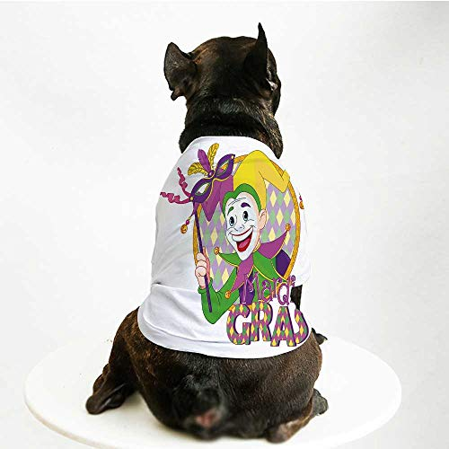 YOLIYANA Mardi Gras Cute Pet Suit,Cartoon Design of Mardi Gras Jester Smiling and Holding a Mask Harlequin Figure Decorative for Small Medium Large Size Dogs Cats,L