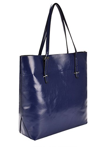 Handbags Capacity Tote Shoulder Purses Womens Cowhide Handbags Blue Large Bag Dark and Fanspack nqaYvBn