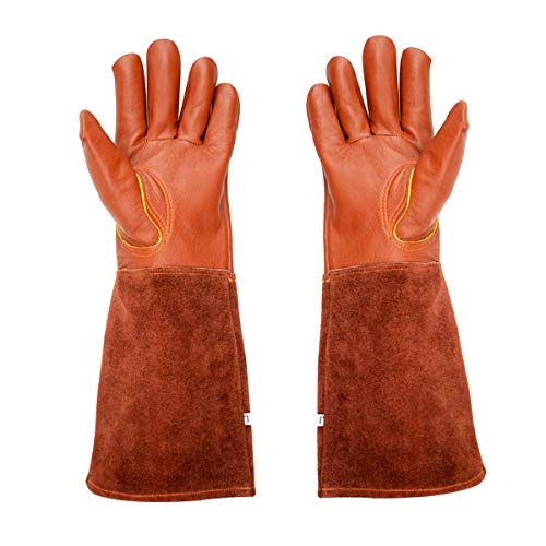 (Gauntlet Thorn Proof Rose Gardening Gloves - Professional Leather Rose Pruning Glove with Extra Long Forearm Protection for Women and Men, Suitable For Thorny Bushes Cacti Landscaping Work)