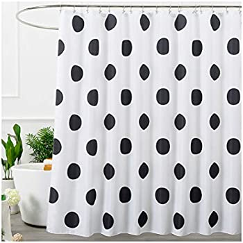 Aimjerry Polka Dot Washable Fabric Shower Curtain Mold Resistant Black And White72 X 72in