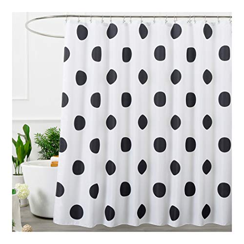 Aimjerry Polka Dot Washable Fabric Shower Curtain Mold Resistant Black and White,72 X 72in
