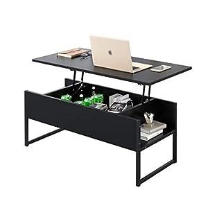 Beliwin Table Basse relevable Bureau avec Grand Rangement caché pour Bureau de Salon (Noir)