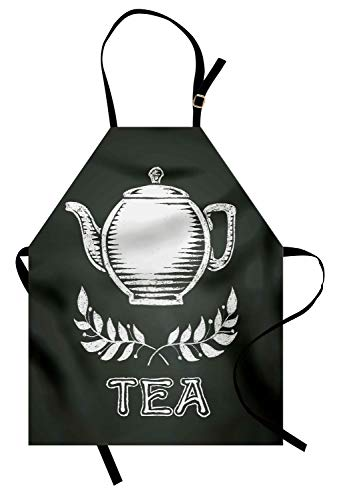 Ambesonne Tea Apron, Teapot with Leaf Branches Drawn to Chalkboard Grunge Traditional Culture Print, Unisex Kitchen Bib Apron with Adjustable Neck for Cooking Baking Gardening, Charcoal Grey -