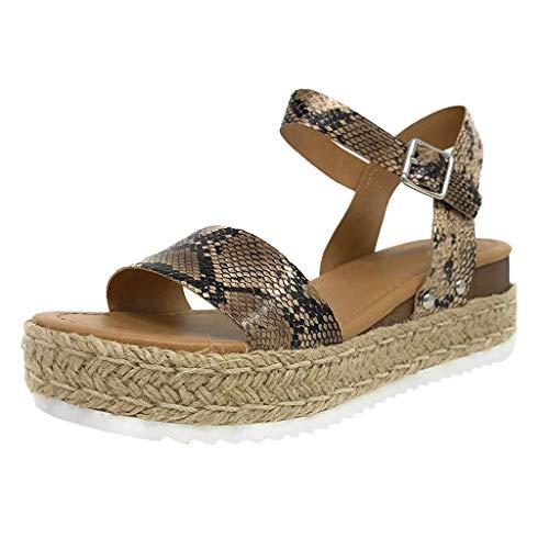 (Mysky Fashion Women Summer Open Toe Weave Platforms Buckle Strap Wedges Sandals Beige)